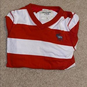 Long sleeve Abercrombie red and white shirt